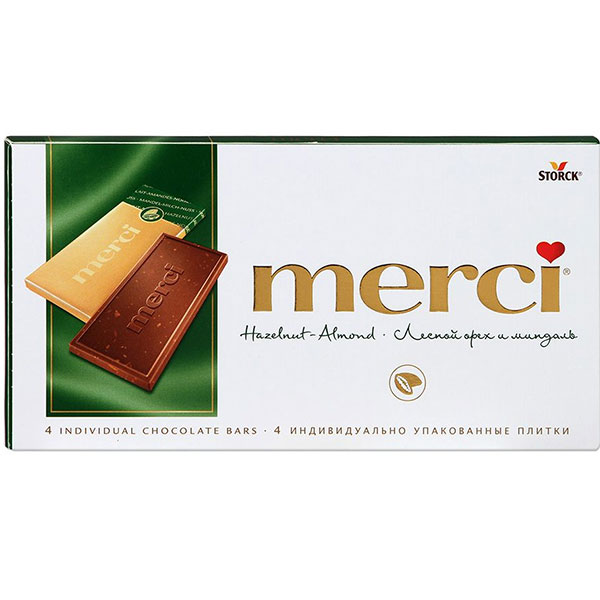 Шоколад Мерси (Merci) Лесной орех с миндалем