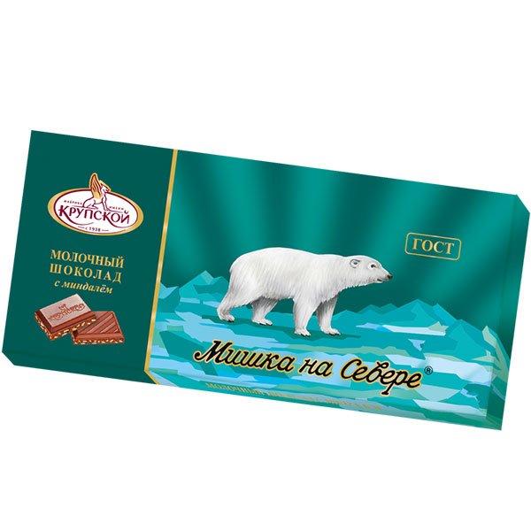 Шоколад Мишка на севере молочный дробленый миндаль